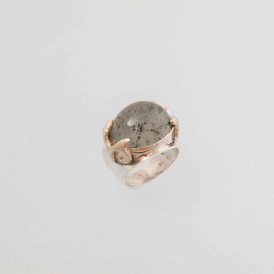 Δακτυλίδι Βυζαντινό Δόντι Ασημόχρυσο με Τουρμαλίνη