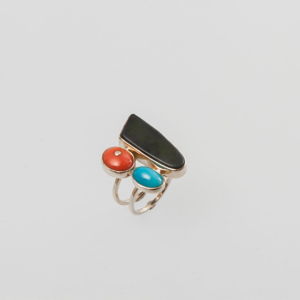 """""""Tricolore"""" Ring, gold, jade, coral, turquoise"""