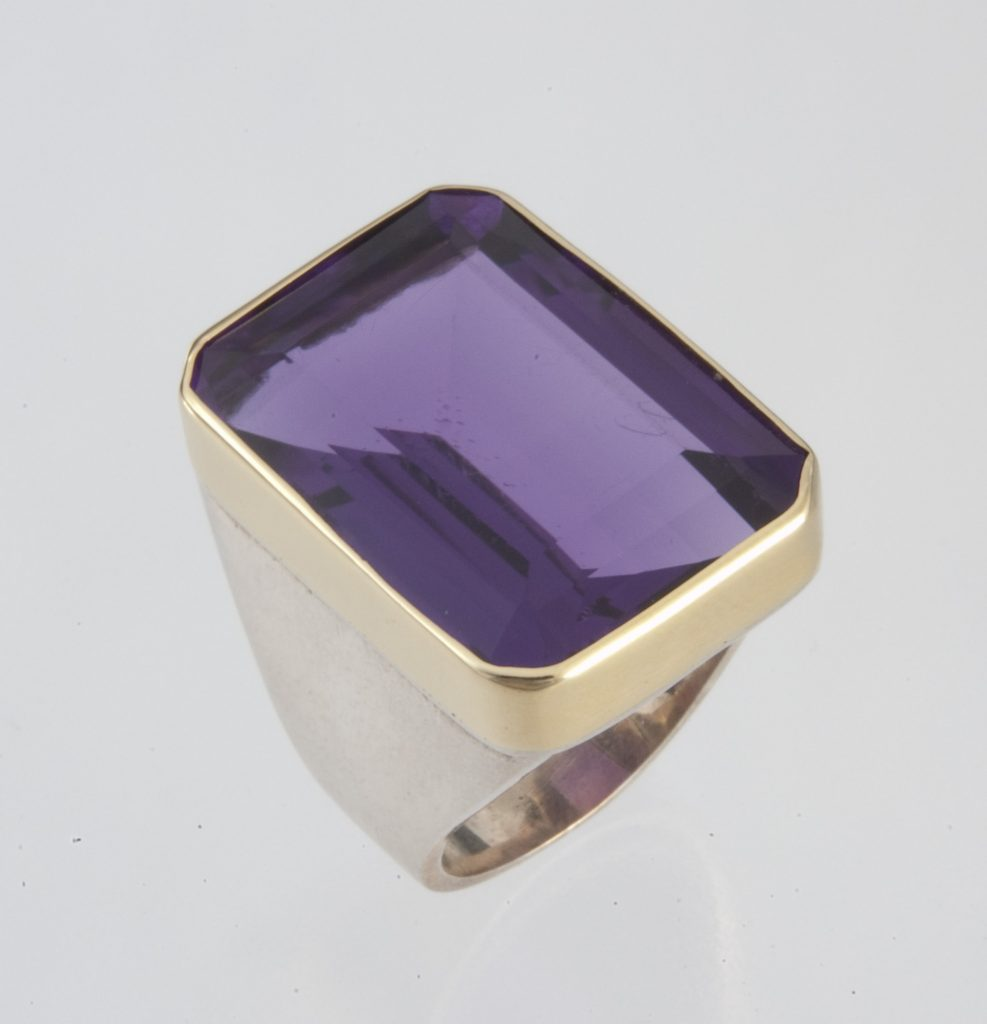 Ring, silver and gold, amethyst.