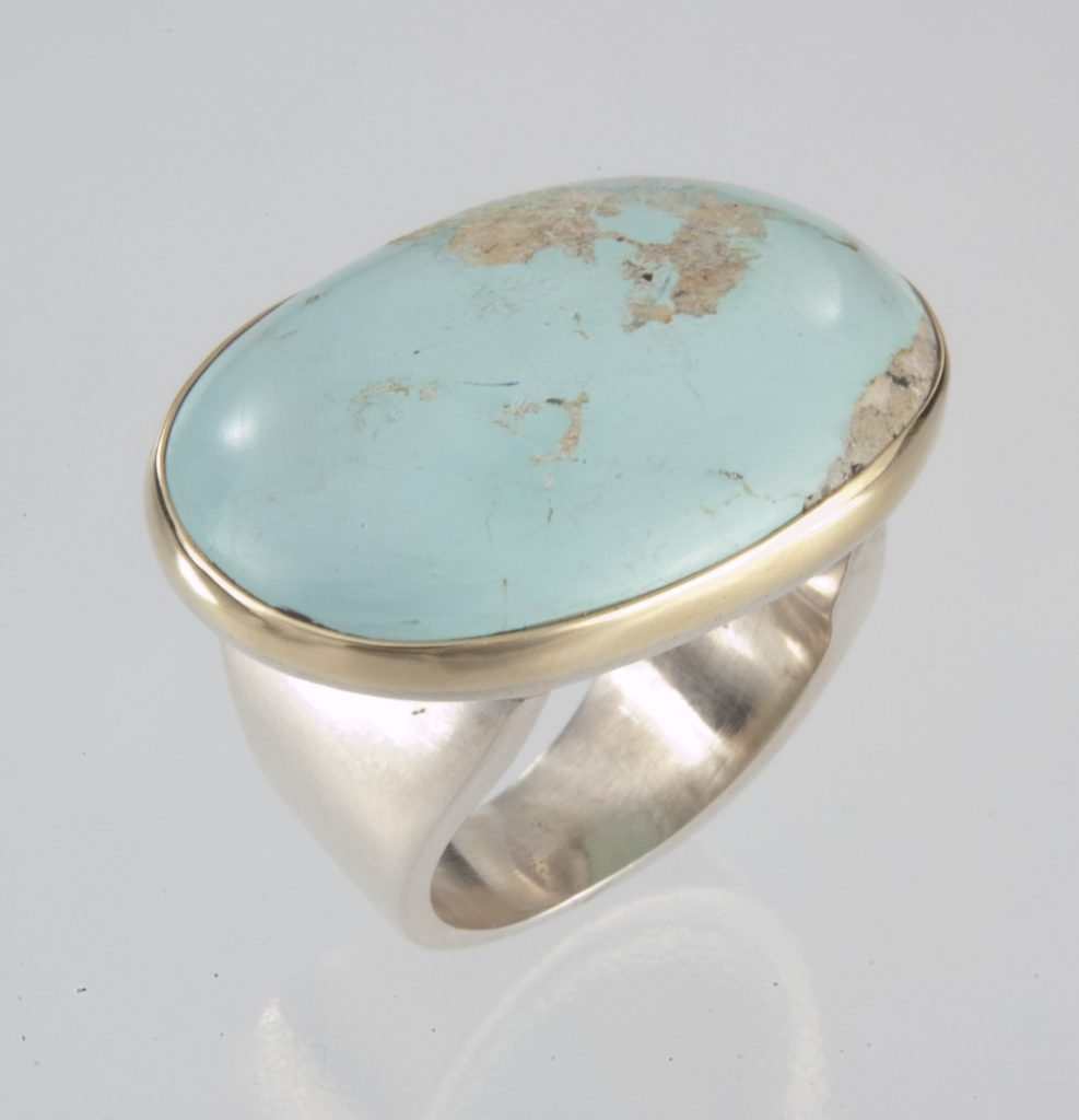 Ring, silver and gold, turquoise