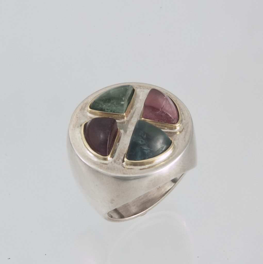 Ring, silver and gold, tourmalines
