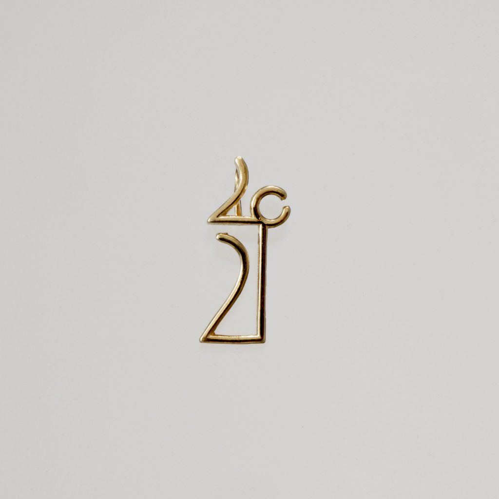 """Linear"" Pendant-lucky charm 2021 silver, yellow"