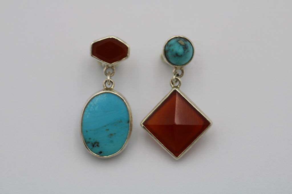 """""""Balanced asymmetry""""  Earrings silver, turquoise, carneol"""
